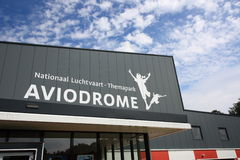 Front of Aviodrome aviation museum. The front of the Aviodrome aviation museum in Lelystad, the Netherlands, with logo and full name Stock Images
