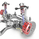 Front axle with suspension and absorber on white. 3D illustration. Front axle with suspension and absorber on white background. 3D illustration Royalty Free Stock Photography