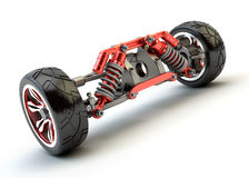 Front axle with suspension and sport gas absorbers isolated on w Royalty Free Stock Photo