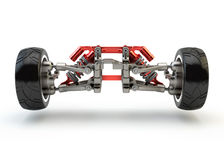 Front axle with suspension and sport gas absorbers Stock Photos