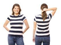 Front and back. Two portraits of the same woman one from the front and the other from the back over white background Royalty Free Stock Photos