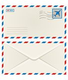 Front and back of an airmail envelope. Front and back of an unaddressed airmail envelope with an airplane postage stamp and postage cancellation, vector Stock Photos