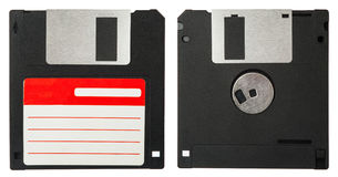 Front and back of a black floppy disk. On white background Royalty Free Stock Photos