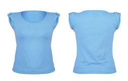 Front and back blue t-shirt on white Royalty Free Stock Images