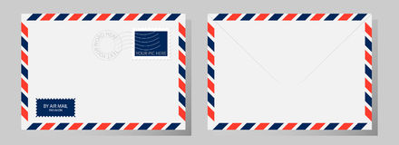Front and back of classic envelope with stamp, postmark and airmail sign. Vector illustration. stock illustration