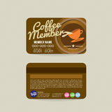 Front And Back Coffee Voucher de calibre de carte de membre Image stock