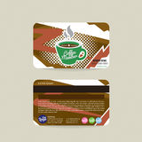 Front And Back Coffee Voucher de calibre de carte de membre Photographie stock