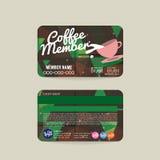 Front And Back Coffee Voucher do molde do cartão do membro ilustração do vetor