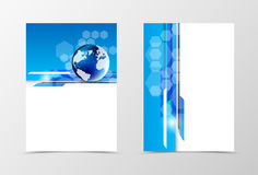 Front and back digital flyer template design. Abstract template in blue colors with globe and hexagons in dynamic futuristic style. Vector illustration stock illustration