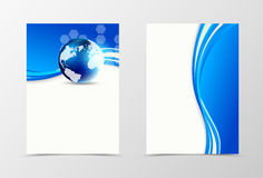 Front and back digital flyer template design. Abstract template with blue lines, globe and hexagons in wavy bright style. Vector illustration vector illustration
