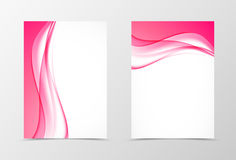 Front and back dynamic design flyer template. With curved pink waves in soft elegant bright smooth style. Vector illustration royalty free illustration