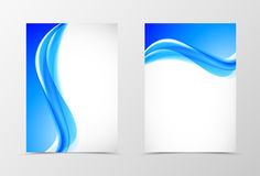 Front and back dynamic design flyer template. With soft blue waves in bright fresh elegant style. Vector illustration vector illustration