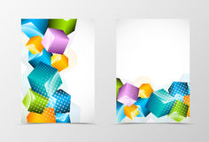 Front and back dynamic geometric flyer template design Royalty Free Stock Photos