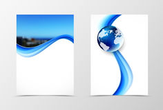 Front and back dynamic wave flyer template design Royalty Free Stock Image