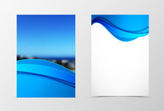 Front and back dynamic wave flyer template design Stock Image