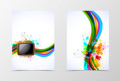 Front and back dynamic wave flyer template design. Stock Image