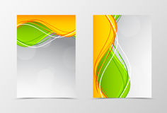 Front and back dynamic wave flyer template design Stock Photos