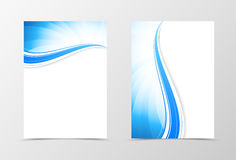 Front and back dynamic wavy flyer template design Stock Photo