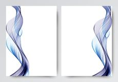 Front and back dynamic wavy flyer template design. Abstract template with blue lines in light style. Vector illustration vector illustration