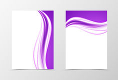 Front and back elegant design flyer template. With bright purple waves in smooth soft dynamic style. Vector illustration stock illustration