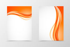 Front and back elegant design flyer template. With dynamic orange wavy lines in bright soft style. Vector illustration stock illustration