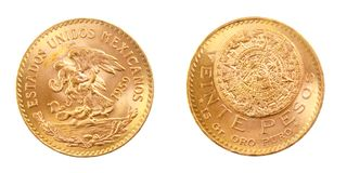 Gold coin of Mexiacan Pesos. Front and back of fine gold, isolated on pure white background Royalty Free Stock Photos