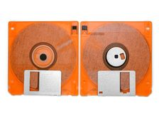 Front and back of floppy disk on white background Stock Photo