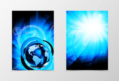 Front and back futuristic technologic flyer template design. Abstract template with bright blue globe in digital vortex shiny style. Vector illustration Stock Photo
