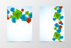 Front and back geometric flyer template design. Abstract template with colorful 3d cubes in dynamic style. Vector illustration Royalty Free Illustration