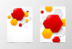 Front and back geometric flyer template design Royalty Free Stock Photos
