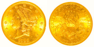 Front and Back Gold Liberty Head Coin Stock Image