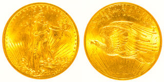 Front and Back Gold St Gaudens Coin Stock Images