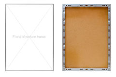 Front and back of metal picture frame Royalty Free Stock Images