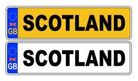 Front And Back Number Plate BRITÁNICO con el texto Escocia Stock de ilustración
