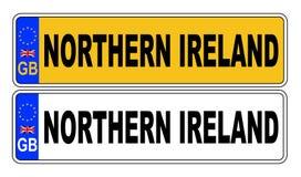 Front And Back Number Plate BRITÁNICO con el texto Irlanda del Norte Ilustración del Vector