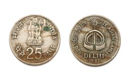 Front and back of the 25 Paise IX Asian Games coin Royalty Free Stock Photo