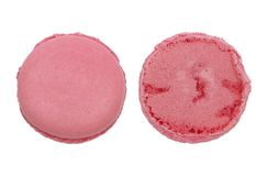 Front and back of pink circle macaroon isolated on white Royalty Free Stock Image