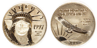Front and Back Platinum Hundred Dollar Coin. Front and back of a hundred dollar 1997 platinum coin stock photography