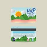 Front And Back-Promi Mitgliedskarten-Schablonen-natürliches Konzept Stockbild