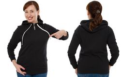 Front back and rear black sweatshirt view. Woman pointing and show on template clothes for print and copy space isolated on white. Background. Mockup royalty free stock photos
