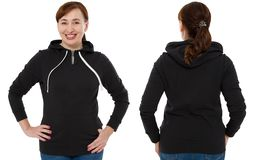 Front back and rear black sweatshirt view. Woman in template clothes for print and copy space isolated on white background. Mockup.  stock images