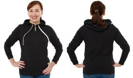 Front back and rear black sweatshirt view. Woman in template clothes for print and copy space isolated on white background. Mockup.  stock photo