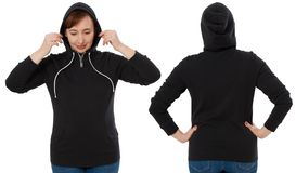 Front back and rear black sweatshirt view. Woman in template hoody clothes for print and copy space isolated on white background. Hoody Mockup stock image