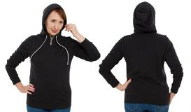 Front back and rear black sweatshirt view. Woman in template hoody clothes for print and copy space isolated on white background. Hoody Mockup royalty free stock images