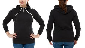 Front back and rear black sweatshirt view. Woman in template hoody clothes for print and copy space isolated on white background. Hoody Mockup. Cropped image stock photography