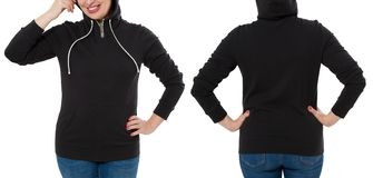 Front back and rear black sweatshirt view. Woman in template hoody clothes for print and copy space isolated on white background. Hoody Mockup. Cropped image stock image