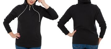 Front back and rear black sweatshirt view. Woman in template hoody clothes for print and copy space isolated on white background. Hoody Mockup. Cropped image stock photos