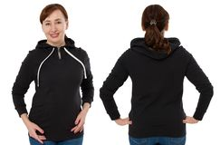 Front back and rear black sweatshirt view. Woman in template hoody clothes for print and copy space isolated on white background. Hoody Mockup royalty free stock photography