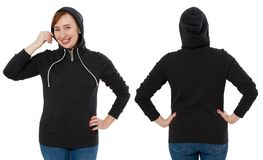Front back and rear black sweatshirt view. Woman in template hoody clothes for print and copy space isolated on white background. Hoody Mockup royalty free stock image