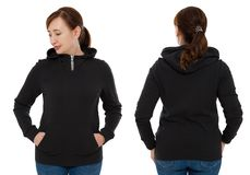 Front back and rear black sweatshirt view. Woman in template hoody clothes for print and copy space isolated on white background. Hoody Mockup stock photography
